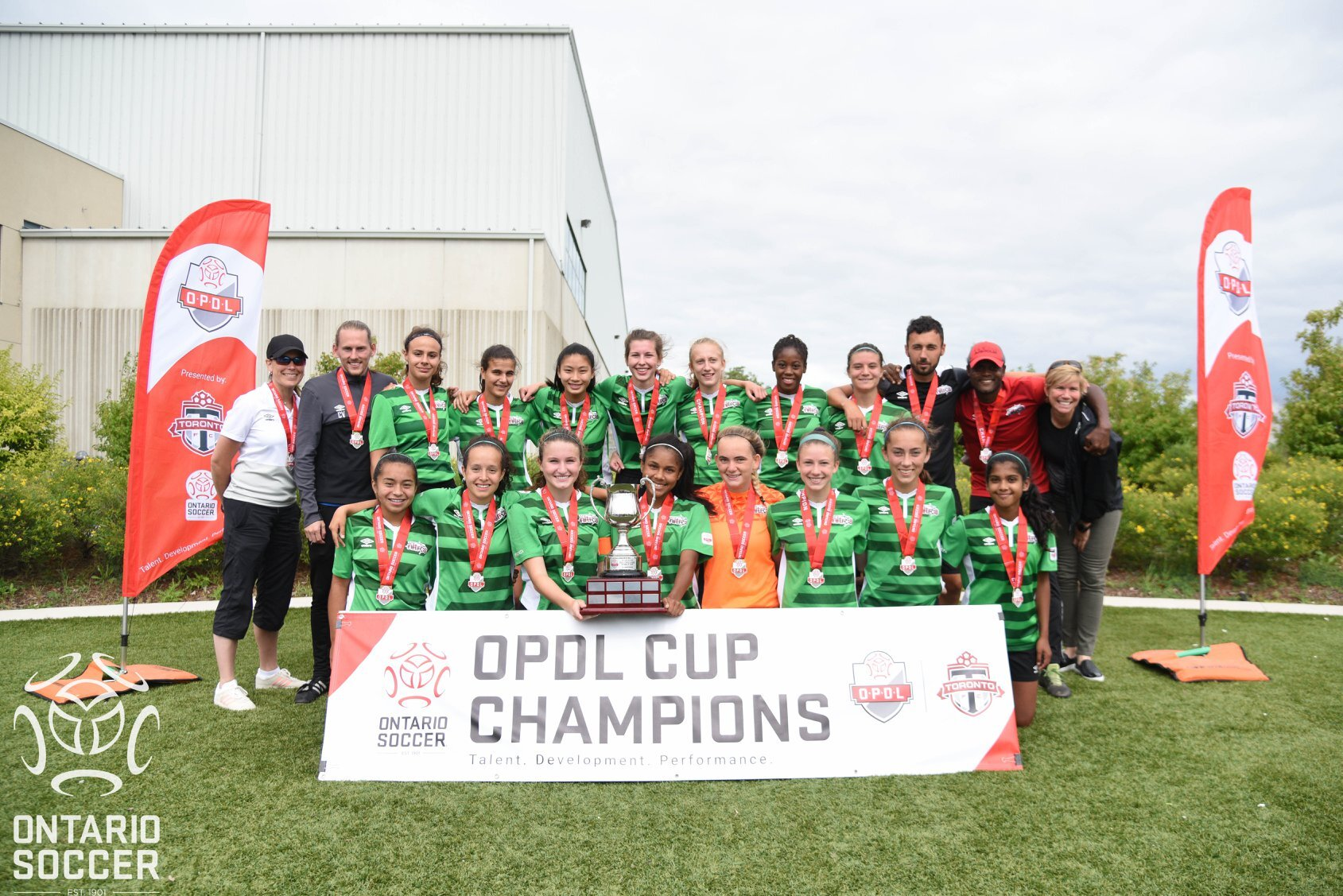 1c0d5e88b91 SILVER LINING...the Nitros U17s girls and technical staff with the OPDL Cup  Picture courtesy of Ontario Soccer