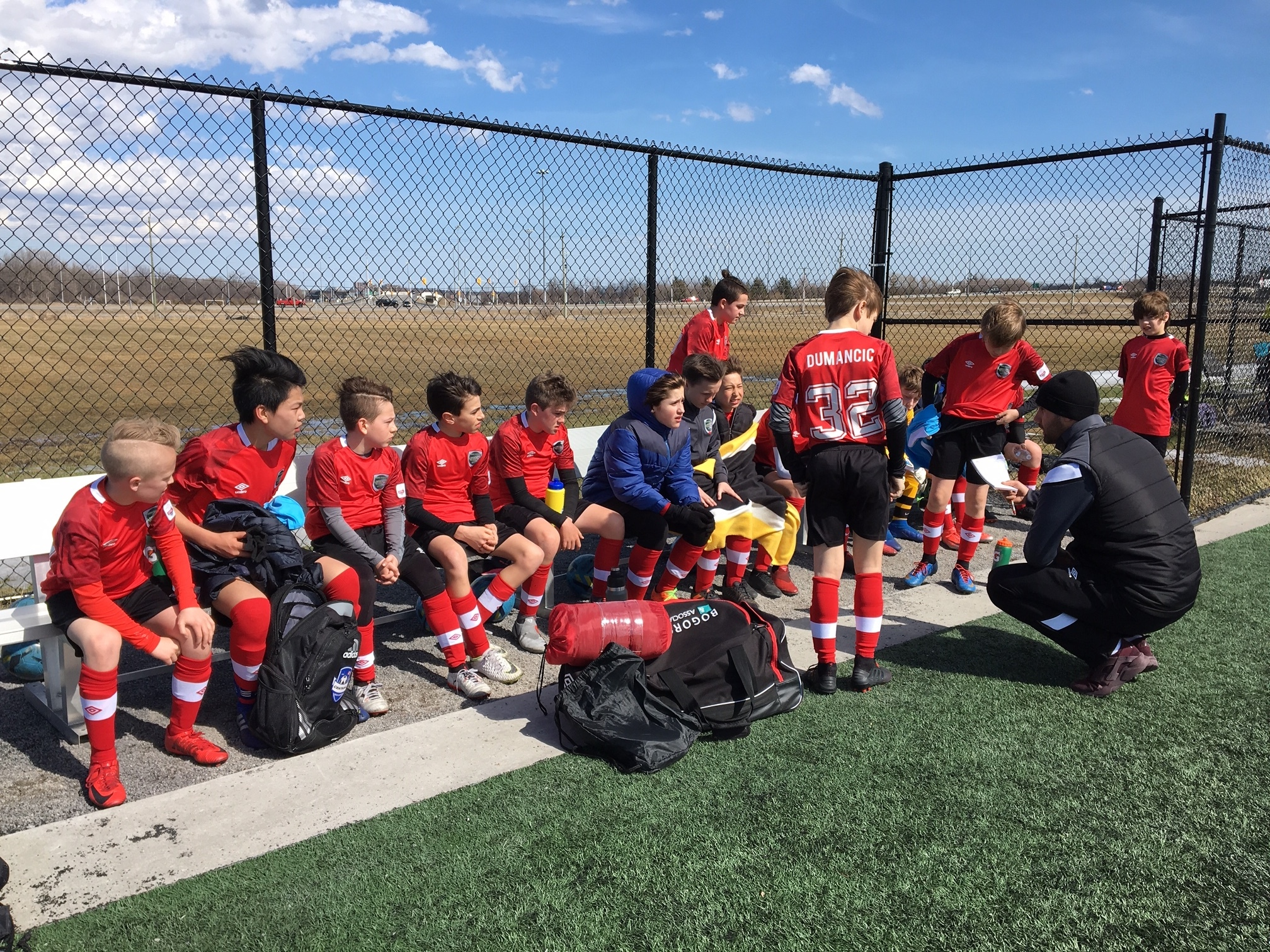 23b83d9c2 RED-DY TO LISTEN...the OPDL rookies are fully focused on this team talk  from Technical Director Billy Wilson in Ottawa